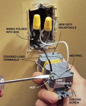 "<b>Photo 3: Make the right connections</b></br> <p>Connect the new wires to the GFCI terminals marked ""Line."" Connect the  black wire to the brass screw and the white wire to the side that's labeled  ""white,"" ""W"" or has a silver screw. Do not connect wires to the ""Load""  terminals. If there's no equipment ground wire available (copper that's bare or  is covered with green insulation), don't connect anything to the GFCI ground  terminal(green screw). </p>"