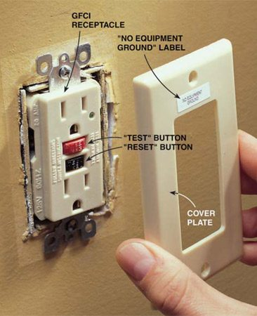 "<b>Photo 4: Screw the receptacle to the box</b></br> <p>Fold the wires neatly into the box. Screw the GFCI to the box  and install the cover plate. If you didn't have an equipment ground wire,  attach a sticker to the cover plate saying ""No Equipment Ground."" This sticker  is included with most GFCI receptacles. </p>"