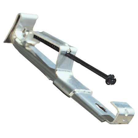<b>Photo 2: Close-up of a gutter hanger</b></br> This style fits one common type of gutter and mounts from the top.