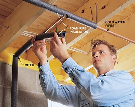 <b>Photo 1: Install pipe insulation</b></br> <p>Cut pipe insulation to length with a serrated bread knife.</p>