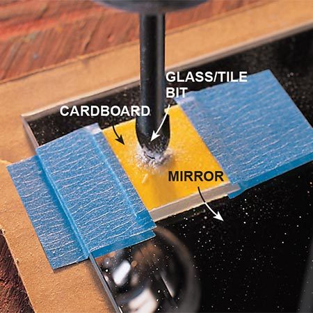 <b>Start on a piece of cardboard</b></br> <p>Tape a small scrap of dense cardboard to the glass. Begin at very low rpm to create a dimple in the glass, then remove the cardboard and continue at about 400 rpm.</p>