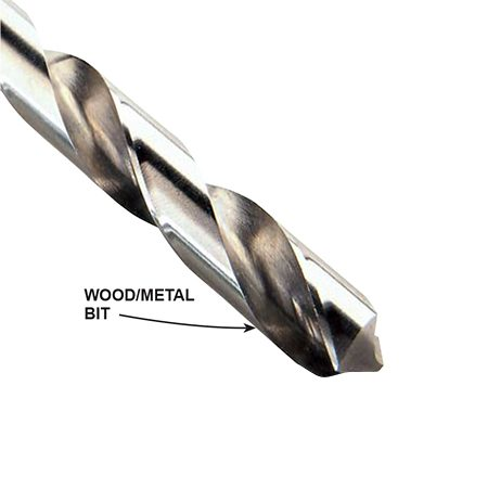 <b>Wood/metal drill bit</b></br> <p>Most of the drill bits you use for wood will also bore into metal.</p>