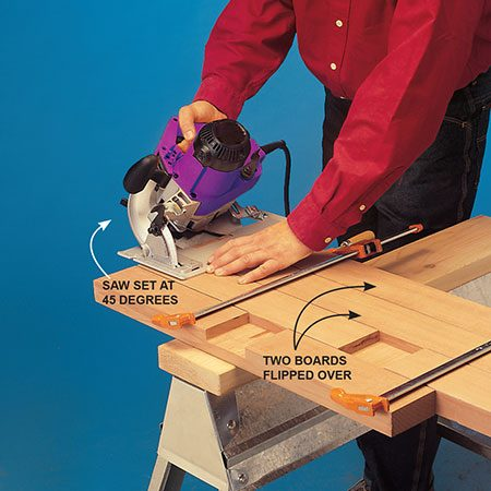 <b>Photo 2: Bevel the ends</b></br> <p>Cut beveled ends on the base pieces, cutting them all at once. Note that two of the boards have to be flipped over before you cut.</p>