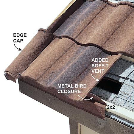 <b>Detail 1: Venting&mdash;the eaves</b><br/><p>To vent the roof, holes are cut in the old roof above the soffit, which pulls air through the soffit vents underneath.</p>