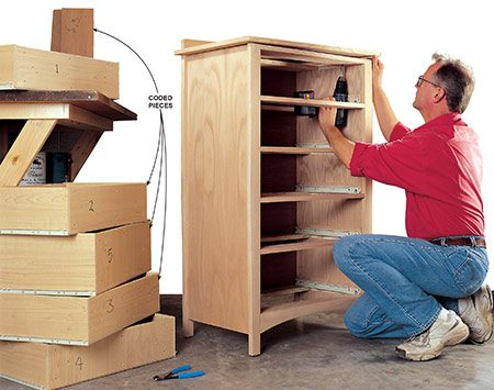 "<b>Photo 1: Disassemble furniture</b></br> <p>Number parts in inconspicuous locations to make sure you can get them back together with their original partners. For example, mark the top drawer front and its drawer with a ""1."" Mark parts for right and left or front and back orientation.</p>"