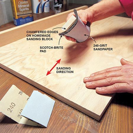 <b>Photo 2: Hand-sand the pieces</b></br> <p>Sand the surfaces with fine-grit sandpaper to remove fingerprints, standing grain, shallow scratches, burrs, dirt and surface blemishes. Feel the surface with your fingertips to find rough areas.</p>