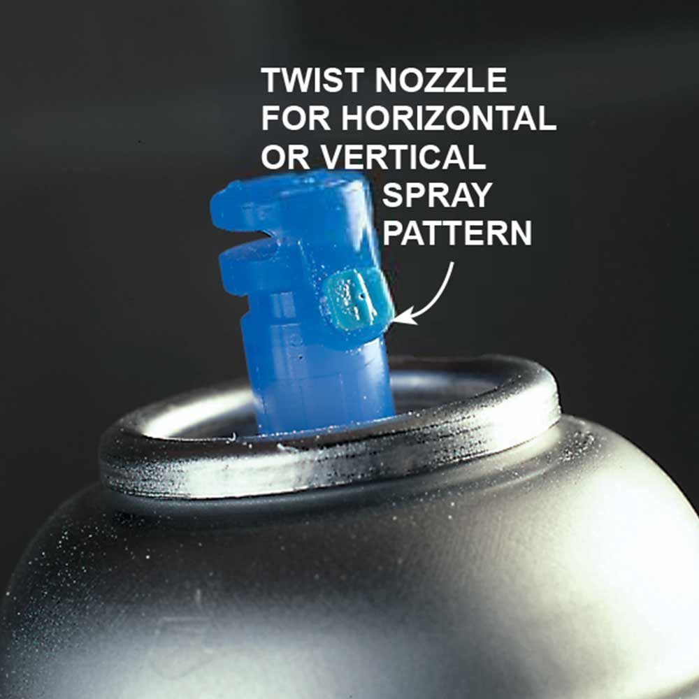 <b>Spray lacquer nozzles</b></br> <p>Some spray lacquer cans come with adjustable spray nozzles that make application easier. You create either a vertical or horizontal fan-shaped thin spray simply by twisting the nozzle 90 degrees. Use the vertical pattern to spray back and forth and the horizontal to spray up and down.</p>