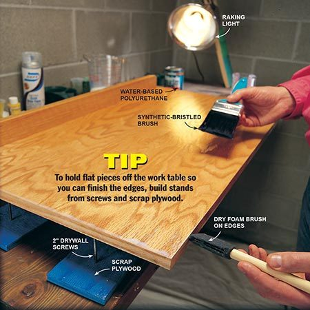 <b>Photo 7: Use a good brush</b></br> <p>Brush polyurethane surfaces with a high-quality brush. Start with the edges and work your way toward the middle. Drag a dry foam brush over edges after brushing on polyurethane to prevent and fix sags and runs. Use a raking light to highlight surface irregularities. Remove edge buildup with short, light strokes toward the edge.</p>