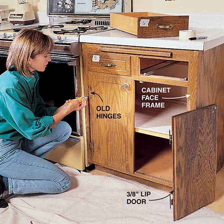 <b>Photo 1: Carefully measure for new doors and drawer fronts</b></br> <p>Unscrew the hinges and remove the doors. You'll be reusing the drawers, so number them before taking them out.</p>