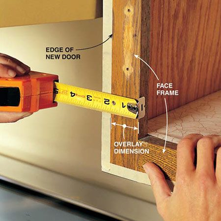 <b>Photo 4: Measure for the hinges</b></br> <p>Measure from the edge of the frame to the masking tape on the hinge side of every door to determine the distance the door will overlap the cabinet frame. This distance is called the overlay and is needed to order the correct-sized hinge mounting plates. Record this distance next to the corresponding door on your sketch. Subtract 1/8 in. from the overlay to determine the mounting plate size. For example, order 5/8-in. plates if the overlay distance is 3/4 in.</p>