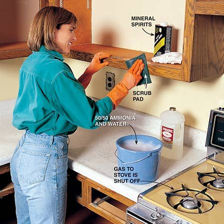 <b>Photo 5: Start the refinishing with a good cleaning</b></br> <p>Clean the cabinets with a mineral spirits–dampened rag to remove surface contaminants. Then thoroughly scrub them with a 50/50 solution of household ammonia and water. Finally, rinse with clear water and allow to dry. Sand the cabinets with 80-grit sandpaper to remove bumps and roughen the surface.</p>
