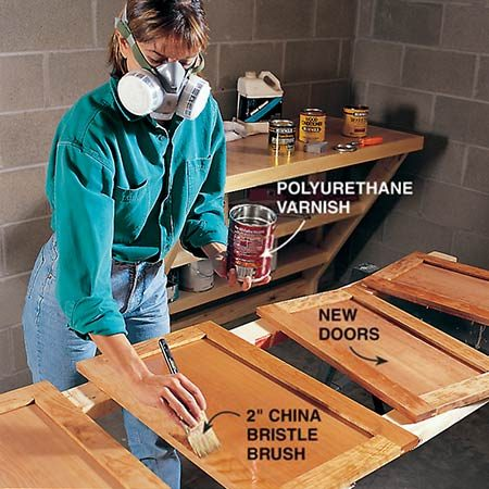 <b>Photo 12: Finish the doors</b></br> <p>Stain and seal the cabinet doors and drawer fronts. Use a prestain conditioner on pine, cherry and birch to help even out blotchiness. Use compatible products and allow each coat to dry according to the directions on the label. Sand with a fine-grit sponge between coats of sealer (we used polyurethane) and vacuum off the dust. Use a best-quality china bristle brush for oil varnish or polyurethane. Brush horizontal rails first, then vertical stiles and finally, the flat panel.</p>