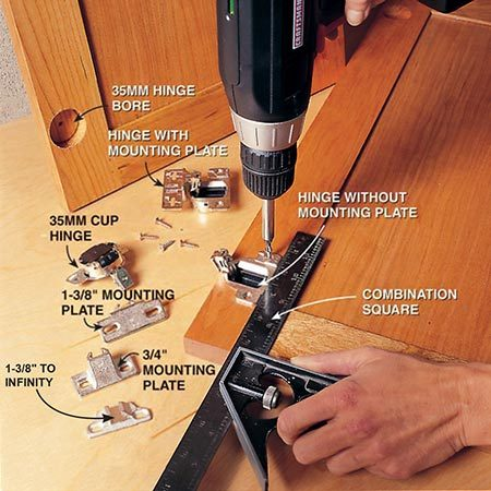 <b>Photo 13: Fasten the hinges to the doors</b></br> <p>Press the hinges into the 35mm holes in the back of the cabinet doors. Align the hinge with a combination square and attach it with the small Phillips head screws provided. Refer to your sketch to determine the distance this door will overlay the frame, and attach the corresponding mounting plate to the hinge.</p>