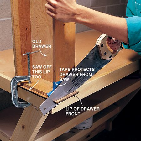 <b>Photo 15: Prepare the old drawers</b></br> <p>Saw off the lip on the drawer front that protrudes from the drawer box. Use a handsaw, table saw or miter saw for the ends and a table saw or handsaw for the top and bottom edges. Smooth the edges with a belt sander or wood rasp.</p>