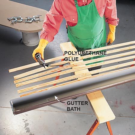 <b>Prepare the hardwood strips</b></br> <p>After cutting and soaking the hardwood strips, apply a coat of polyurethane glue to one side of each strip.</p>