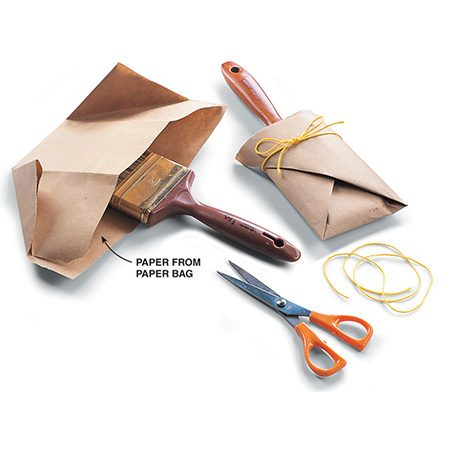 <b>Wrap</b><br/><p>Wrap the brush with heavy paper. This retains the shape of the brush.</p>