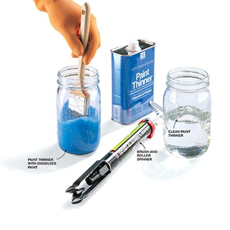 <b>Rinse, spin, dip and spin</b><br/><p>Rinse the brush thoroughly in paint thinner. Use a brush-and-roller spinner after nearly all the paint solids are out of the brush. Dip the brush into a clean container of paint thinner. Spin the brush again.</p>