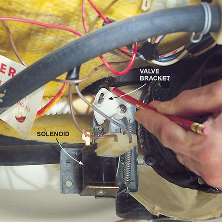 <b>Photo 3: Check for a valve bracket</b></br> <p>If you have a valve bracket (Photo 3), your dishwasher has a drain valve. To test the valve, push on the valve bracket to make sure it moves freely.</p>