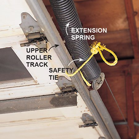 Tie extension springs to the track when you remove an old garage door.