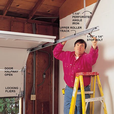 <b>Photo 6: Align the upper tracks</b></br> <p>Align the upper roller tracks by carefully lifting the door halfway. Lock it in place with two locking pliers, and install the supporting brackets on the back of the rails using 1-1/4 in. perforated angle iron (available at home centers and hardware stores). Install 1-1/2 x 1/4 in. stop bolts, with the threads to the inside of the track, at the end of each upper track.</p>