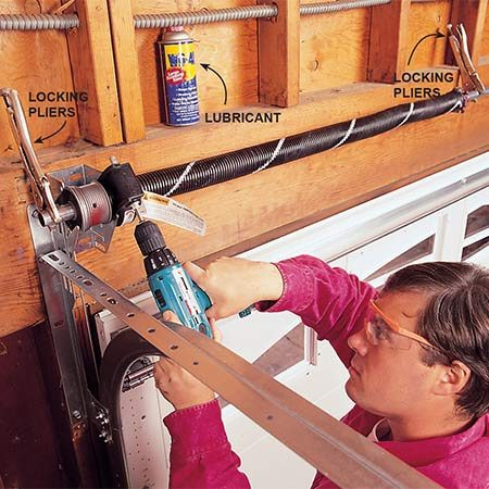 <b>Tensioning the spring</b></br> <p>Using your drill, add tension to the torsion spring. This system uses a single spring for a double door, but many manufacturers use two springs for a double door. The painted line on the spring acts as a gauge for the number of turns you put on the spring. To keep the bar from turning while you're adding tension, attach a locking pliers to the bar on both ends of the spring. Apply lubricant for garage doors to the spring.</p>