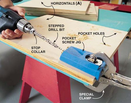 <b>Photo 1: Butt-joint plywood panels</b></br> Clamp the pocket hole jig to the horizontal panel (A) and workbench. Follow the manufacturer's instructions for setting the stop collar on the special bit to the correct depth. Insert the bit into the jig's metal sleeve before you turn on the drill. Start the drill so the bit is turning at full speed. Then bore the clearance and pilot hole in one step by pushing the bit into the workpiece until the stop collar contacts the metal sleeve. Bore three holes on both ends of the eight horizontal panels.