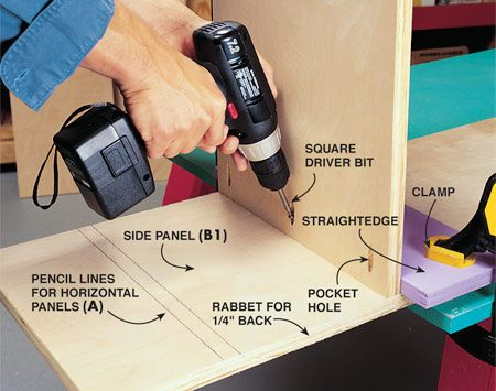 <b>Photo 2: Attach the horizontal panels</b></br> Lay out the horizontal panel (A) locations with a framing square. Then clamp a straightedge along the line to hold the panels in position while you drive in the 1-1/4-in. pocket screws. Attach all eight panels  (A) to the uprights (B1 and B2).