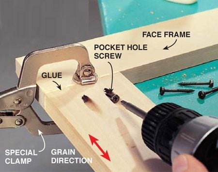 <b>Photo 4: Glue the pieces</b></br> Spread wood glue on both pieces to be joined. Clamp the joint together to hold the faces flush, and drive in the 1-1/4-in. pocket screws. We used a special locking pliers-type clamp provided by the jig manufacturer.