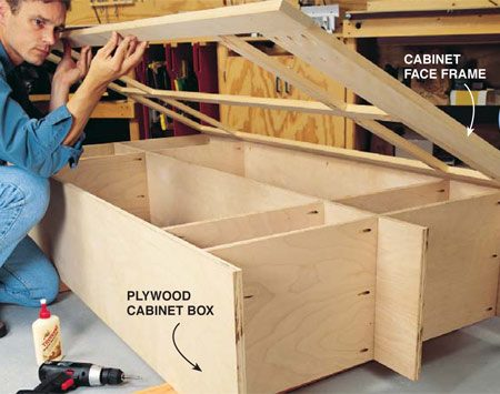 <b>Photo 5: Attach the frame</b></br> Attach the face frame to the box. First bore pocket screw holes every 16 in. along the inside front edge of the box, placing them in concealed locations when possible. After checking the alignment of the frame to the box, spread an even layer of wood glue on the edge of the plywood and use a clamp to hold the frame in position while you attach it to the box with pocket screws. Remove excess glue with a damp rag. When the glue is dry, sand the outside edge of the face frame flush with the box, being careful not to sand through the thin veneer on the plywood.