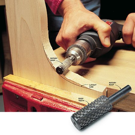 <b>Rotary rasp</b></br> <p>Grind off extra wood with a rotary rasp. It's also great for widening or shaping holes in wood and many plastics. Periodically clean off the rasp with an old toothbrush. If you're running the drill for an extended time or really leaning on the tool, you may overtax the motor or damage its bearings. Either give your drill a rest or use a heavier-duty drill that can deliver the needed power while maintaining the rpm. It looks gnarly, and it is. The rotary rasp isn't a finishing tool. You'll have to use a file and/or sandpaper to smooth any marks that show.</p>