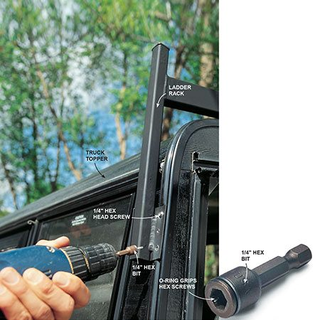 <b>Use a hex bit for screwing</b></br> <p>Install a ladder rack on a truck topper quickly with self-tapping hex screws driven by a hex bit.</p>