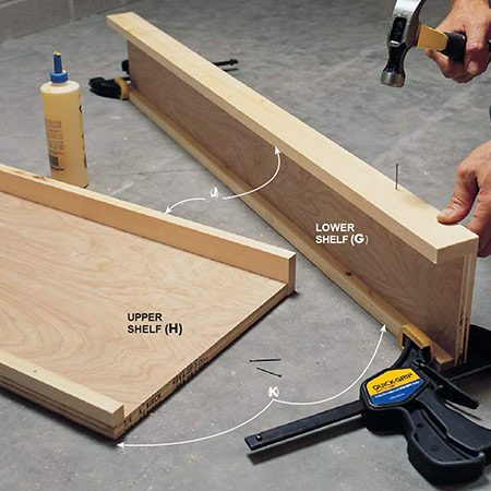 <b>Photo 6: Add the aprons and cleats</b></br> <p>Glue and nail the 3/4-in. x 2-1/4 in. front shelf apron to the 3/4-in. plywood shelf with 4d nails. Also glue and nail the 3/4-in. x 3/4-in. rear shelf cleat flush with the back of the shelf. Use shorter 1-1/4 in. brad nails (3d finish) for the rear cleats. Cut the 3/4-in. plywood top and glue and nail the side aprons M and N to the sides and front of the top.</p>