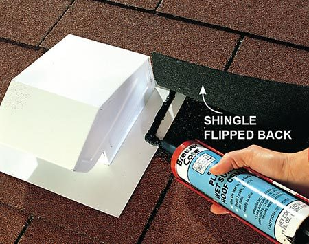 Seal the vent for the exhaust fan around the edges with roofing cement.