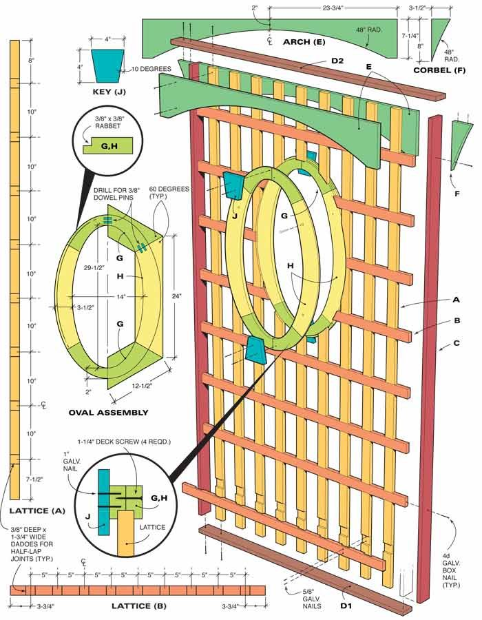 This illustration shows how the trellis is assembled.