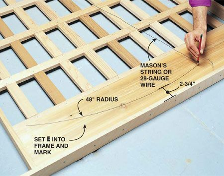 <b>Photo 5: Mark the curve radius</b><br/>Mark a 48-in. radius onto the center cornice board. Once you've marked it, slip it out and cut it with a jigsaw. Make a duplicate for the backside. Nail the pieces to the frame and to the middle and outer lattice pieces.
