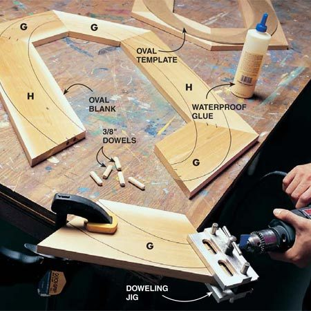 <b>Photo 9: Dowel and glue the hexagonal segments</b></br> <p>Dowel  the pieces that make up the hexagonal blank that will later be transformed into  the finished oval.</p> <p><strong>Tip: </strong>Don't  take shortcuts here. This is the best way to glue up an oval blank. </p>