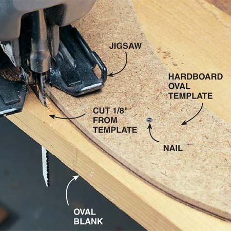 <b>Photo 10: Cut out the oval</b><br/>Cut along the outside and inside of the template. Stay approximately 1/8 in. away from the edge of the template. You'll use a router with a top-bearing guide bit to get the oval blank to match the template exactly. See Photo 11.