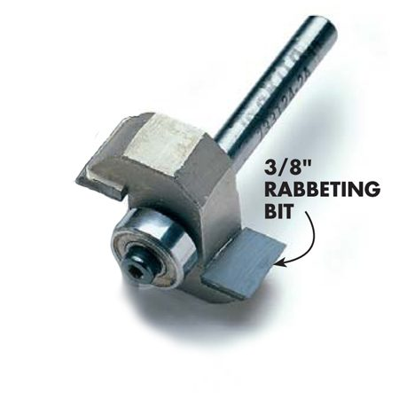 <b>Detail of a rabbeting bit</b></br> A rabbeting bit is designed to cut grooves along the edges of boards.