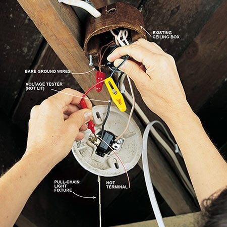 <b>Photo 9: Test for live wires</b></br> <p>Switch off the circuit breaker or remove the fuse at the main panel to disconnect the power to the wires in the junction box you're hooking up to. Double-check that the power is off by holding one lead of a voltage tester against one light-fixture terminal screw and the other against the bare copper grounding wire. Check the other terminal the same way. If the tester lights up, the power is still on. Do not continue until you find and turn off the correct circuit breaker.</p>