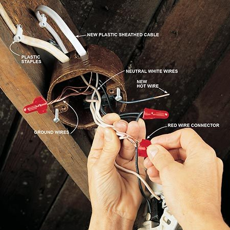 <b>Photo 10: Connect the new wires</b></br> <p>Punch out one of the knockouts in the plastic or steel junction box. Push the wires into the box until 1/4 in. of the sheathing is visible inside of the box, then clamp them in place. Remove the wire connectors one at a time. Line up the end of each new wire in turn with the ends of the existing wires and reconnect them with a new wire connector. Connect the bare ground wire to the ground wires, the neutral white wire to the neutral white wires, and the black wire to the red or black hot wire or wires.</p>