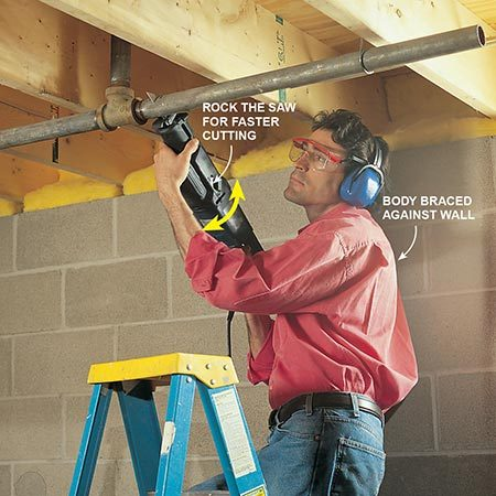 <b>Use the right blade</b></br> <p>Use a metal-cutting blade to slice through pipes. Brace yourself when cutting above your head. Dust and debris can shake loose while cutting in older ceilings; always wear safety glasses and a dust mask as needed.</p>