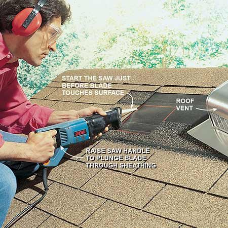 <b>Don't forget the plunge cut</b></br> <p>Plunge-cut through sheathing by placing the saw's shoe against the roof decking as a pivot. Turn on the saw and press the blade tip against the sheathing until it cuts a slot. You could also drill a 1-in. starter hole for your cut.</p>  <p><b>Note</b>: installing the blade upside-down makes the angle between the blade and the surface you're cutting more parallel—which makes the initial plunge cut easier.</p>