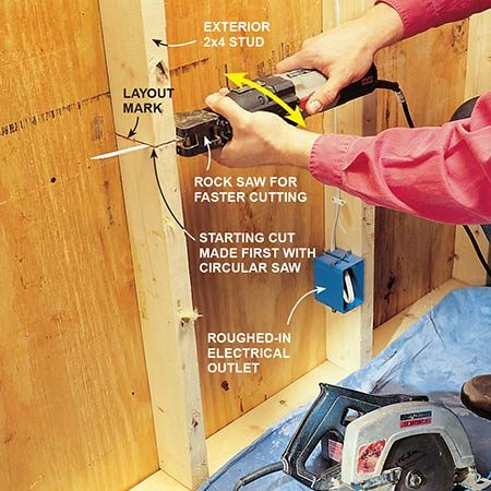 <b>Start cutting through studs with a circular saw</b></br> <p>Cut through wall studs fast. First, make a pass with a circular saw at its deepest blade setting and then finish the cut with the recip saw. The circular saw quickly does the bulk of the cutting. Its saw cut acts as a guide and starts the recip blade running level. Ease up pressure as you get close to the plywood; your blade tip could kick back.</p>  <p><b>Note</b>: Watch out for electrical cable and plumbing pipes.</p>