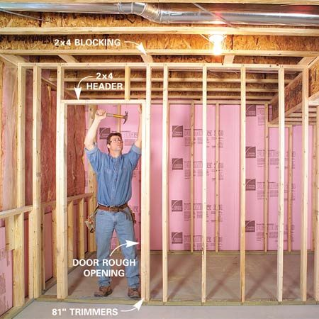 <b>Photo 3: Assemble the wall</b></br> Assemble the wall as shown in Photos 5 – 7. Use 81-in. trimmers and a single flat 2x4 header over doors. Then measure, cut and nail in header cripples. Finish cutting out bottom plates in door openings with a handsaw.