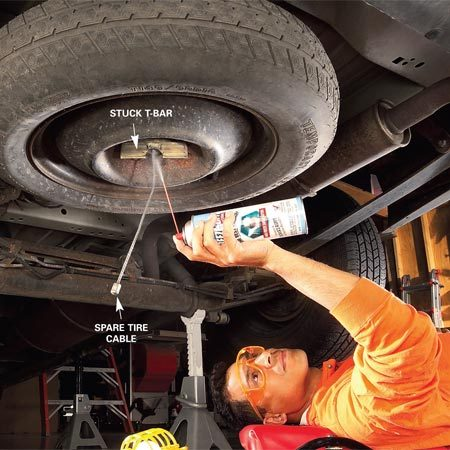 <b>Photo 1: Lubricate the lift cable</b></br> Soak a stuck spare tire lift with rust penetrant. Tap the T-bar to set up rust-busting vibrations.