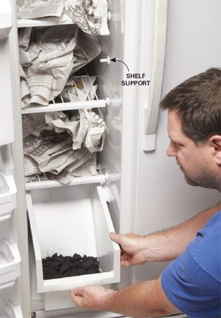 <b>Absorb stinky fridge odor with newspaper and charcoal</b></br> Smash about 12 charcoal briquettes from your grill and spread the chunks on two trays. One goes in the fridge, the other in the freezer. Then crunch up newspaper and fill the shelves with it. Close the doors and walk away. Repeat every day for a week.