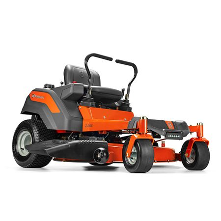"""<b>Consider a zero-turn mower</b></br> <p>Zero-turn mowers work great if you have a large yard or a whole bunch of trees to mow around. Because of the caster wheels on the front, zero-turn mowers have a """"zero"""" turning radius, and that makes it easy to zip around trees fast. Zero-turn mowers speed up your mowing because of the tight, efficient turns you can make at the end of each row. The Husqvarna Z246 shown here features LED lighting.</p>"""