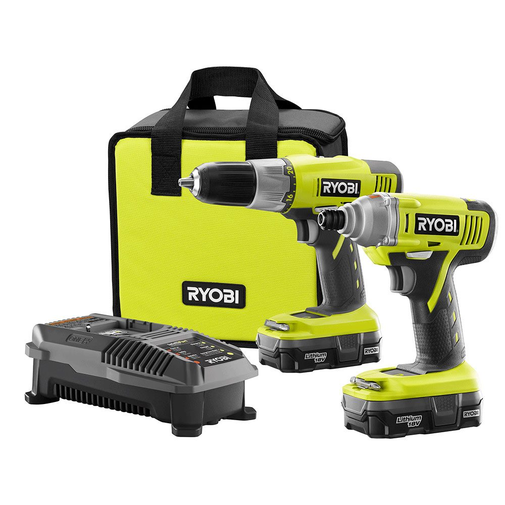 Ryobi 18V Lithium-Ion Drill and Impact Driver Kit