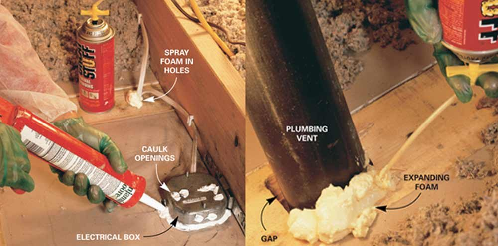 Seal Small Attic Holes With Foam and Caulk