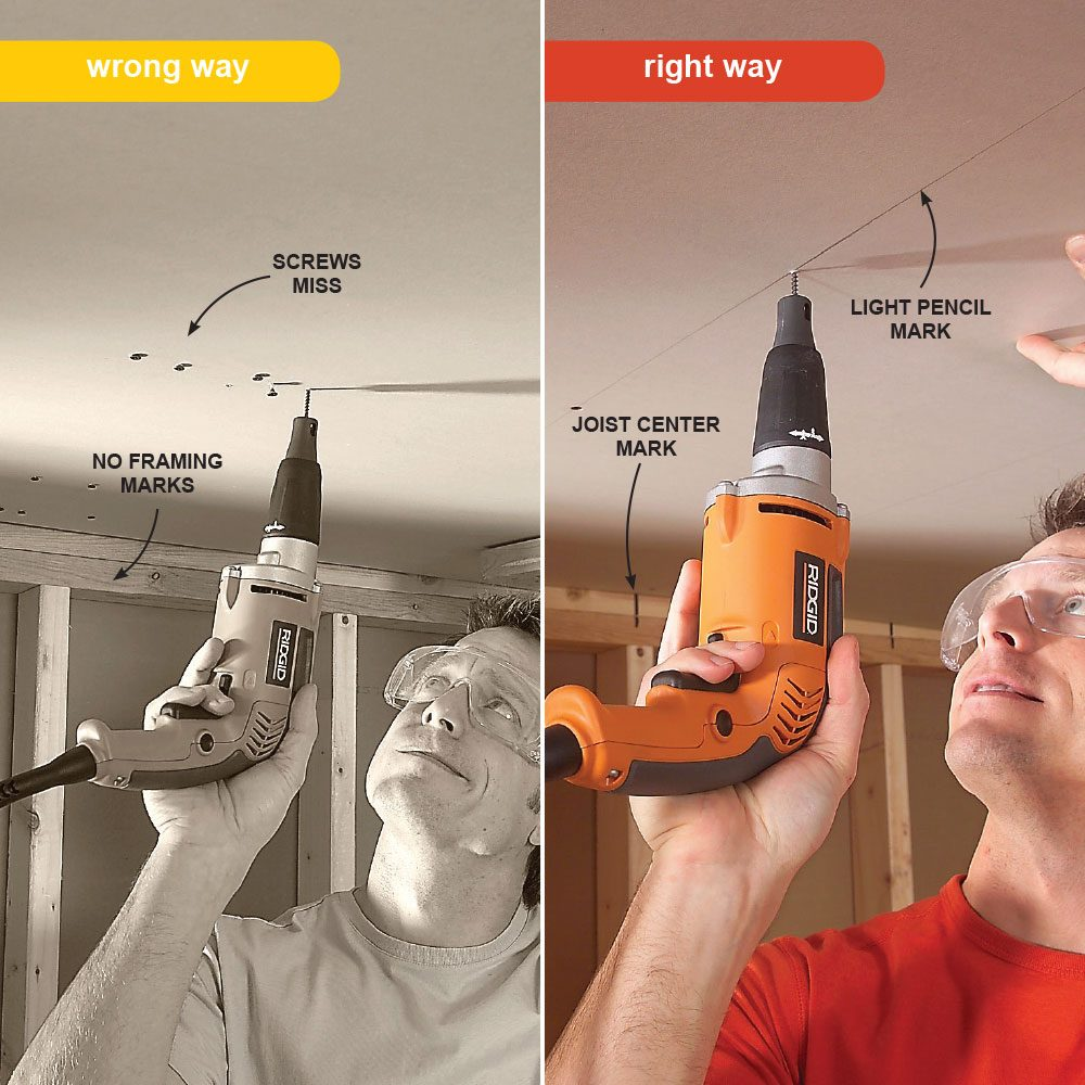 How to hang drywall on a ceiling - Mark Framing Locations